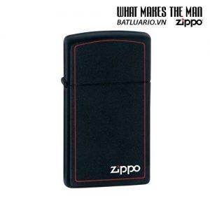 Zippo 1618ZB - Zippo Slim Black Matte with Zippo Logo and Border