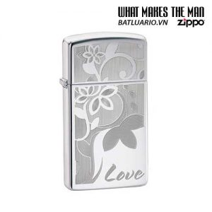 Zippo 24816 - Zippo Slim Love Flower High Polish Chrome