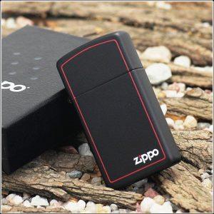Zippo 1618ZB - Zippo Slim Black Matte with Zippo Logo and Border 3