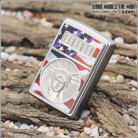 Zippo 21074 - Zippo The Face Of Liberty Emblem Satin Chrome