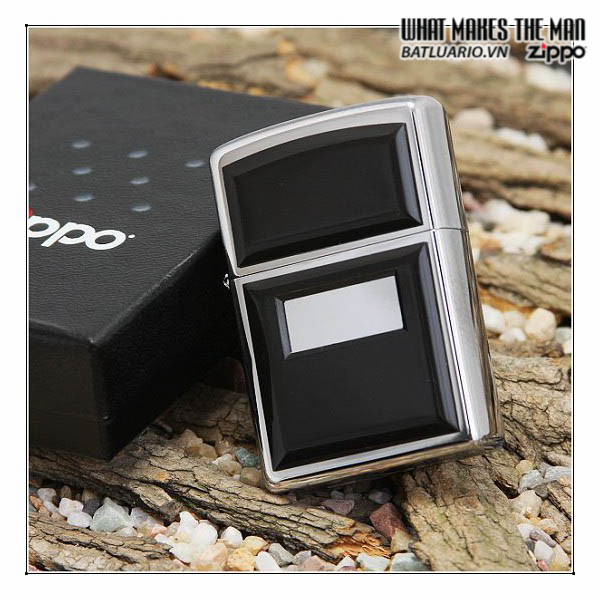 ZIPPO 355 - ZIPPO ULTRALITE BLACK EMBLEM HIGH POLISH CHROME