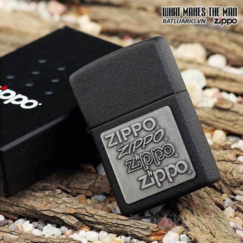 Zippo 363 - Zippo Pewter Emblem Black Crackle