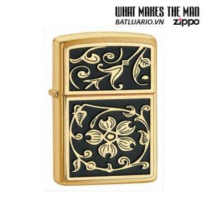 Zippo 20903 - Zippo Gold Floral Flush Emblem Brushed Brass
