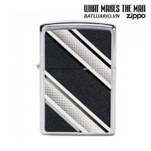 Zippo 24872 - Zippo Double Diagonal Emblem Brushed Chrome