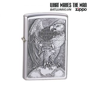 Zippo 200HD.H231 - Zippo Made in the USA Eagle and Globe Emblem Brushed Chrome