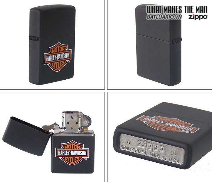 Zippo 218HD.H252 – Zippo Harley Davidson Logo Black Matte