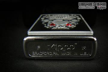 Zippo 28267 - Zippo HD Skull Emblem Swarovski Brushed Chrome