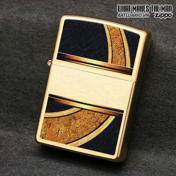 Zippo 28673 - Zippo Classic Gold And Black Brushed Brass Windproof Pocket Lighter