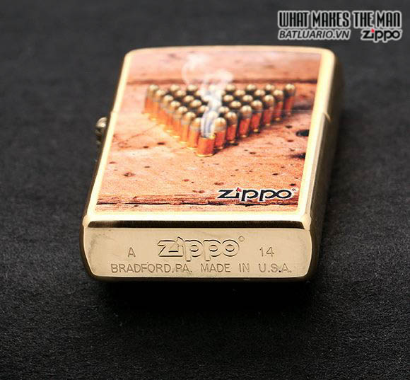 Zippo 28674 - Zippo Classic Brushed Brass Bulletts Windproof Pocket