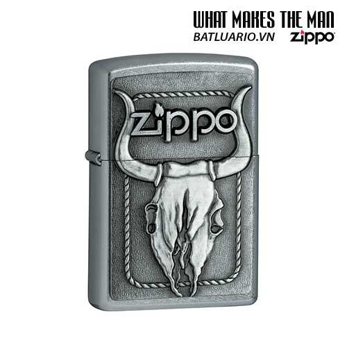Zippo 20286 - Zippo Bull Skull Emblem Street Chrome