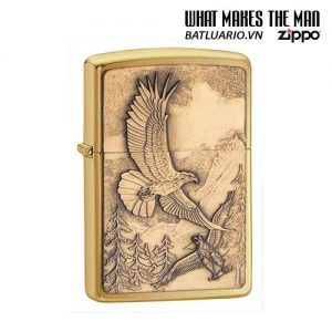 Zippo 20854 - Zippo Lighter Where Eagles Dare Emblem Brushed Brass