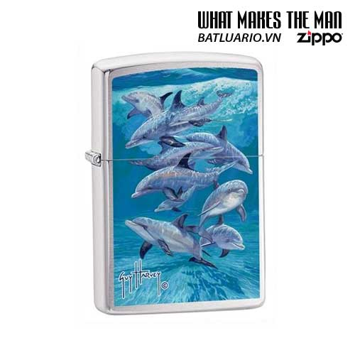 Zippo 21051 - Zippo Guy Harvey Dolphin Brushed Chrome