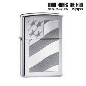 Zippo 21068 - Zippo Old Glory High Polish Chrome