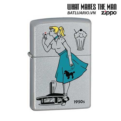 Zippo 24387 - Zippo Windy Girl 1950s Satin Chrome
