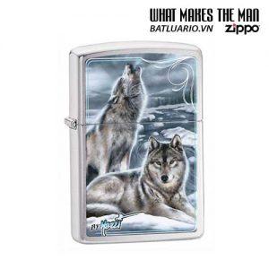 Zippo 28002 - Zippo Mazzi Howling Wolves Brushed Chrome