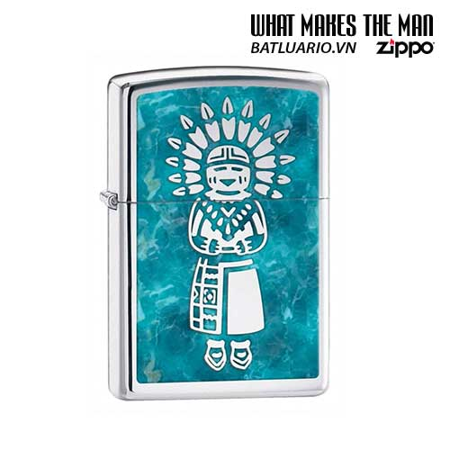 Zippo 28049 - Zippo Lighter Indian High Polish Chrome
