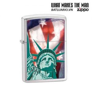 Zippo 28282 - Zippo Statue of Liberty Flag Brushed Chrome