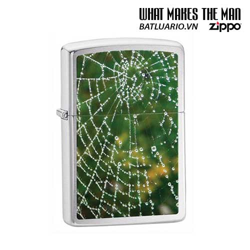 Zippo 28285 - Zippo Spider Web Rain Drops Brushed Chrome