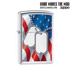 Zippo 28291 - Zippo Flag and Dog Tags Polished Chrome