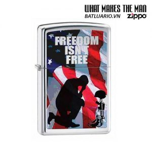 Zippo 28336 - Zippo Freedom Isn't Free High Polish Chrome