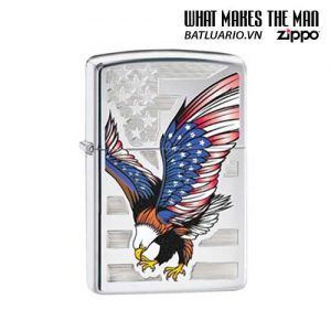 Zippo 28449 - Zippo Eagle Flag Polished Chrome