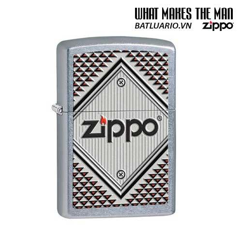 Zippo 28465 - Zippo Red And Chrome Triangles Street Chrome