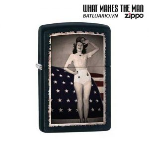 Zippo 28533 - Zippo Woman Saluting with Flag Black Matte