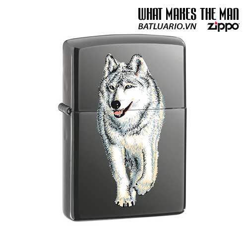 Zippo 769 - Zippo Black Ice Dark Chrome Wolf Printed