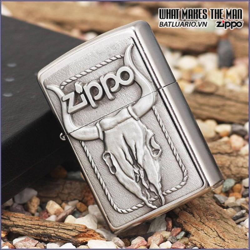 Zippo 20286 – Zippo Bull Skull Emblem Street Chrome 3