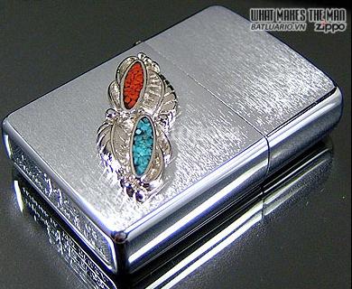 Zippo 20606 – Zippo Feather Stone Emblem Brushed Chrome 1