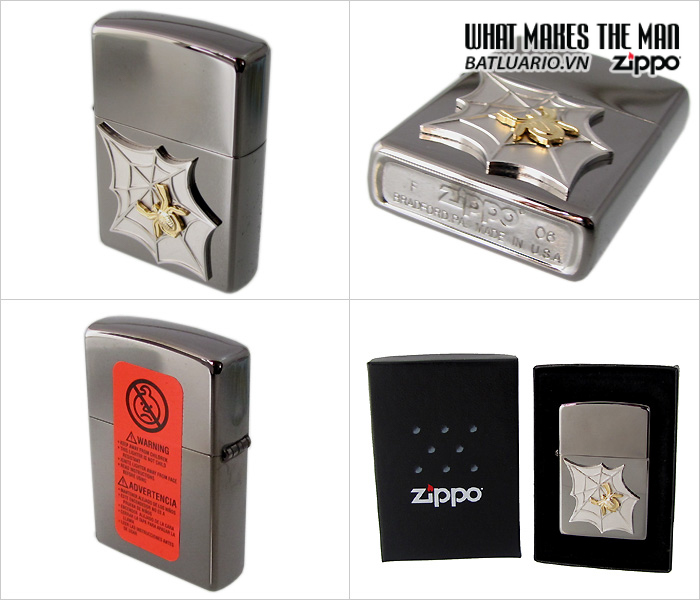 Zippo 20871 – Zippo Black Ice Golden Web Emblem 1