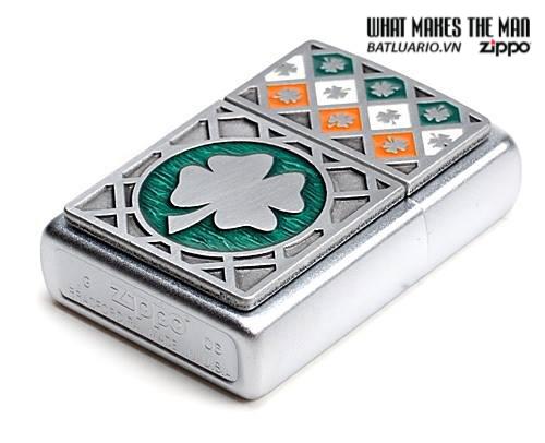 Zippo 21152 – Zippo Luck of The Irish Emblem Satin Chrome 1
