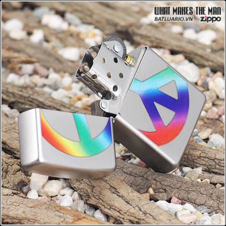 Zippo 24475 – Zippo Lighter Peace Satin Chrome