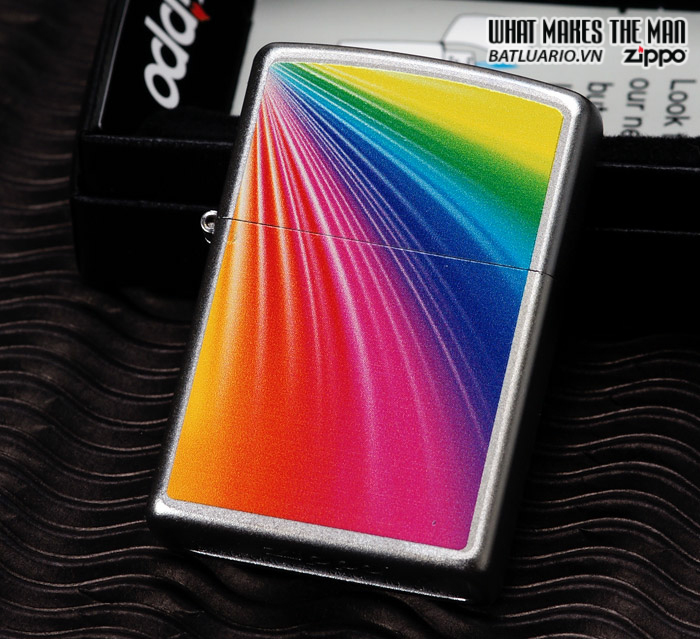 Zippo 24884 – Zippo Lighter Rainbow Satin Chrome 2