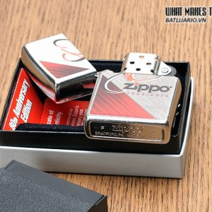 Zippo 28192 – Zippo 80th Anniversary Herringbone Sweep Brushed Chrome