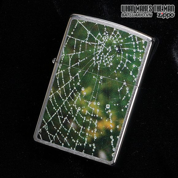 Zippo 28285 – Zippo Spider Web Rain Drops Brushed Chrome 1