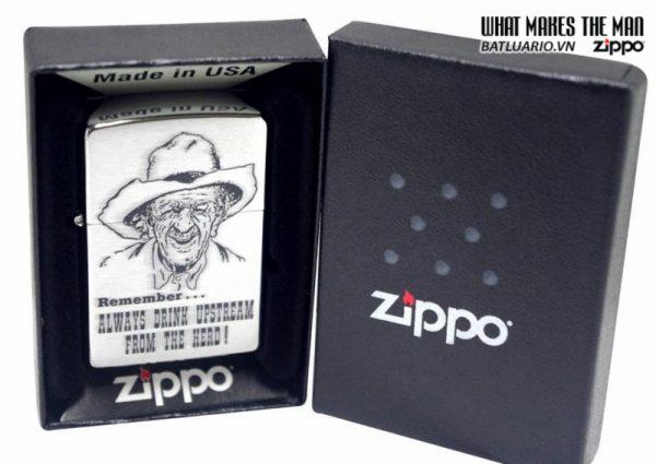 Zippo 28443 – Zippo Always Drink Upstream Brushed Chrome 2