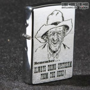 Zippo 28443 – Zippo Always Drink Upstream Brushed Chrome