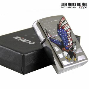 Zippo 28449 – Zippo Eagle Flag Polished Chrome