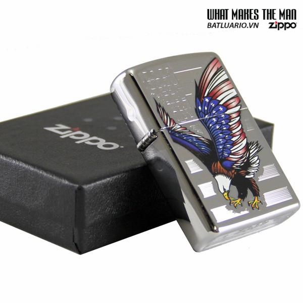 Zippo 28449 – Zippo Eagle Flag Polished Chrome