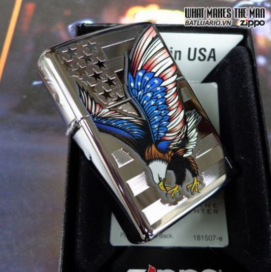 Zippo 28449 – Zippo Eagle Flag Polished Chrome 2