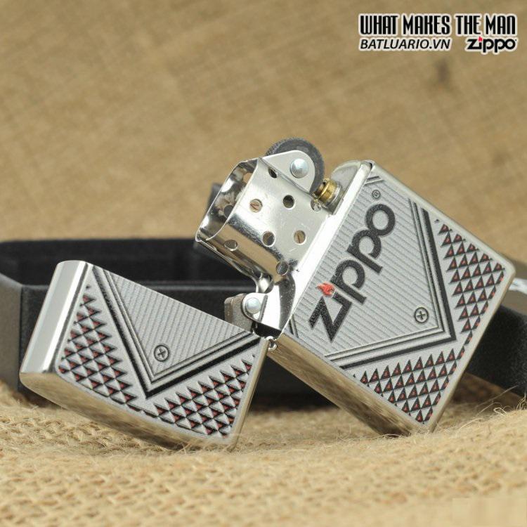 Zippo 28465 – Zippo Red And Chrome Triangles Street Chrome 1