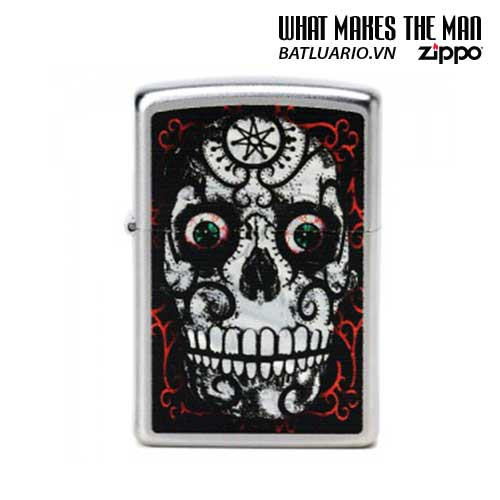 Zippo 24883 - Zippo Day of the Dead Skull Satin Chrome
