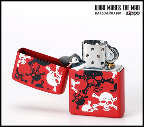 Zippo 24471 – Zippo Skull & Crossbones Red Matte 1