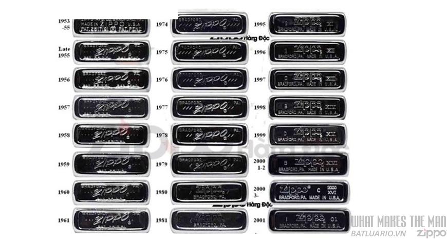 hình ảnh mộc đáy Zippo thực tế 1953-2001