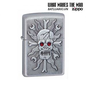 Zippo 24052 - Zippo Wrenching Headache Emblem Satin Chrome