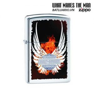 Zippo 28824 - Zippo Harley Davidson Wings Fire High Polish Chrome