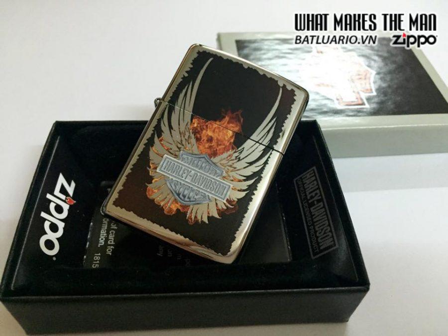 Zippo 28824 – Zippo Harley Davidson Wings Fire High Polish Chrome 2