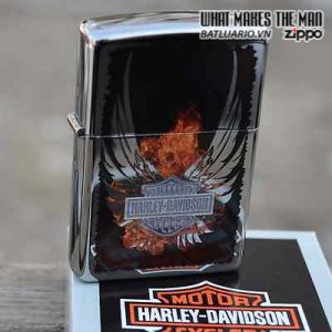 Zippo 28824 – Zippo Harley Davidson Wings Fire High Polish Chrome 4