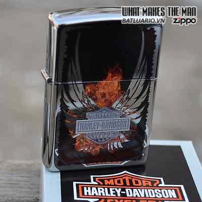 Zippo 28824 – Zippo Harley Davidson Wings Fire High Polish Chrome 4
